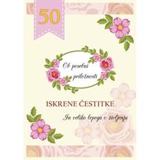 Voščilo Čestitka Rumena Roza Cvetje Posebna Priložnost 50
