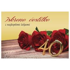 Voščilo, čestitka - rumena, vrtnice, 40, Iskrene čestitke, z najlepšimi željami