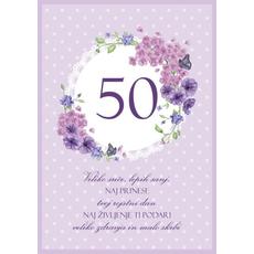 Voščilo Čestitka Vijolična Cvetje Sreča Sanje 50