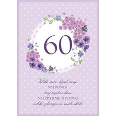 Voščilo Čestitka Vijolična Cvetje Sreča Sanje 60