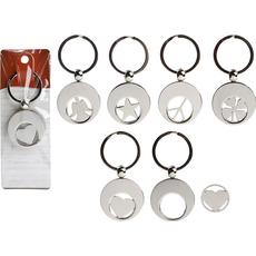 Obesek za na ključe, kovinski, okrogel, 3.5cm, sort.