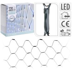 Božične lučke za notranjo in zunanjo uporabo, mreža, 320LED, bele, 3x1.5m +3m