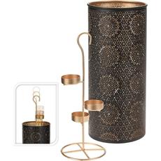 Svečnik kovinski, ovalni, za 3 čajne lučke, 29.5x13cm