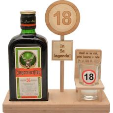 Leseno stojalo za Jagermaister 0.35l s kozarčkom s prometnim znakom 18