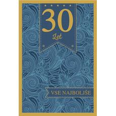 Voščilo, čestitka, 30. let, vse najboljše, modra, zlatotisk,  16.5x24.5 cm