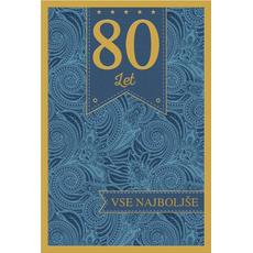 Voščilo, čestitka, 80. let, vse najboljše, modra, zlatotisk,  16.5x24.5 cm