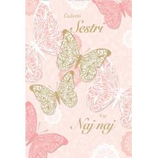 Voščilo, čestitka, Čudoviti sestri, roza in zlati metulji, bleščice, 16.5x24.5cm