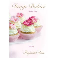 Voščilo, čestitka, Dragi babici za rojstni dan, cupcake,  bleščice, 16.5x24.5cm