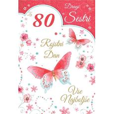 {[sl]:Voščilo, čestitka za 80. rojstni dan, metulji, rdeča, bleščice,  16.5x24.5 c