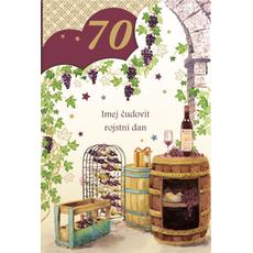 {[sl]:Voščilo, čestitka, Imej čudovit 70. rojstni dan, sod in vino, zlatotisk,  16.5x2