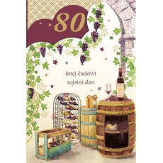 {[sl]:Voščilo, čestitka, Imej čudovit 80. rojstni dan, sod in vino, zlatotisk,  16.5x2