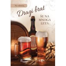 Voščilo, čestitka, Na zdravje,  dragi brat, motiv pivo, 16.5x24.5cm