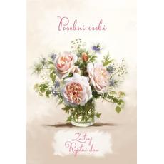 {[sl]:Voščilo, čestitka, Posebni osebi za rojstni dan, šopek belih vrtnic, blešč
