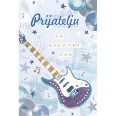 {[sl]:Voščilo, čestitka, Prijatelju za rojstni dan, modra kitara, zlatotisk, 16.5x24.5cm