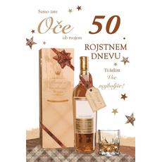 Voščilo, čestitka, Samo zate oče, ob 50. rojstnem dnevu, zlatotisk,  16.5x24.5 cm