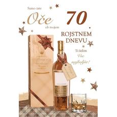 Voščilo, čestitka, Samo zate oče, ob 70. rojstnem dnevu, zlatotisk,  16.5x24.5 cm