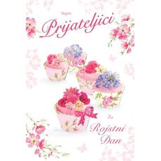 {[sl]:Voščilo, čestitka, Super prijateljici za rojstni dan, cupcake, bleščice, 16.5x24
