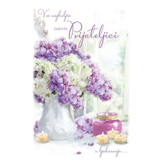 {[sl]:Voščilo, čestitka, Vse najboljše čudoviti prijateljici, šopek in svečk