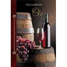 Voščilo, čestitka, vse najboljše oče, sod in grozdje, zlatotisk, 16.5x24.5cm