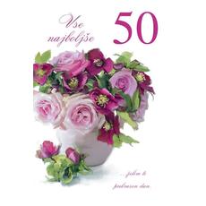 {[sl]:Voščilo, čestitka, Vse najboljše za 50. rojstni dan, šopek rož, bleščice, 16.5x