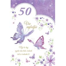 {[sl]:Voščilo, čestitka, Vse najboljše za 50. rojstni dan, vijolična, bleščice,  16.5