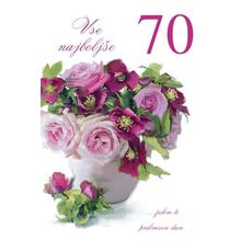 {[sl]:Voščilo, čestitka, Vse najboljše za 70. rojstni dan, šopek rož, bleščice, 16.5x