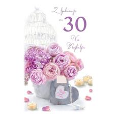 Voščilo, čestitka, Z ljubeznijo za 30 let, šopek, bleščice  16.5x24.5 cm