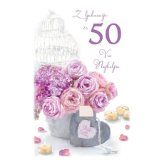 Voščilo, čestitka, Z ljubeznijo za 50 let, šopek, bleščice  16.5x24.5 cm