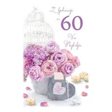 Voščilo, čestitka, Z ljubeznijo za 60 let, šopek, bleščice  16.5x24.5 cm