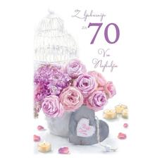Voščilo, čestitka, Z ljubeznijo za 70 let, šopek, bleščice  16.5x24.5 cm