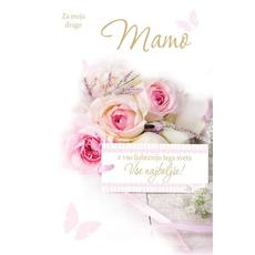 Voščilo, čestitka,  Za mojo drago mamo, roza vrtnice, bleščice, 16.5x24.5cm
