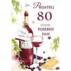{[sl]:Voščilo, čestitka, Zate prijatelj, 80. rojstni dan, steklenica, zlatotisk, 16.5x