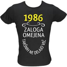 Majica ženska (telirana)-1986, zaloga omejena, takšnih ne delajo več M-črna