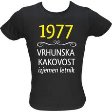 Majica ženska (telirana)-1977, vrhunska kakovost, izjemen letnik M-črna