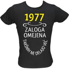 Majica ženska (telirana)-1977, zaloga omejena, takšnih ne delajo več L-črna
