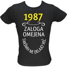 Majica ženska (telirana)-1987, zaloga omejena, takšnih ne delajo več L-črna