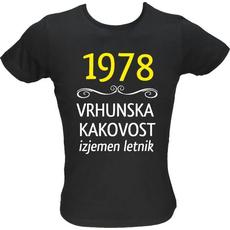 Majica ženska (telirana)-1978, vrhunska kakovost, izjemen letnik XL-črna