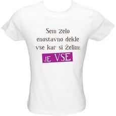 Majica ženska (telirana)-Enostavno dekle XL-bela