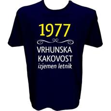 Majica-1977, vrhunska kakovost, izjemen letnik XXL-temno modra