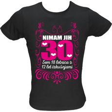Majica ženska (telirana)-Nimam jih 30 L-črna