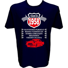 Majica-Made in 1958 avto L-temno modra