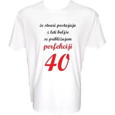Majica-Perfekcija 40 Let XXL-bela