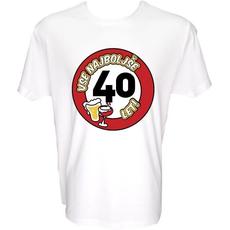 Majica-Vse najboljše 40, prometni znak XL-bela