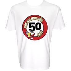 Majica-Vse najboljše 50, prometni znak XXL-bela
