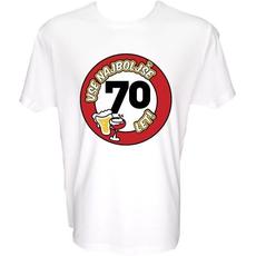 Majica-Vse najboljše 70, prometni znak XL-bela
