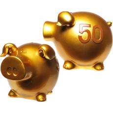 """Hranilnik pujsek, """"50"""", zlat, polimasa, 11.5x13.5cm"""