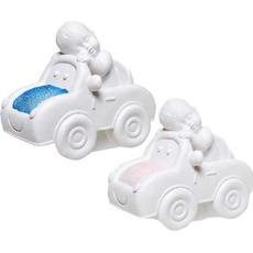 Hranilnik, speči dojenček v avtu, roza/moder, polimasa, 13x14.5 sort.