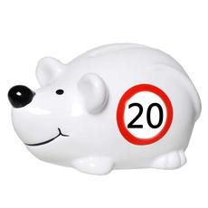"Hranilnik, miška s prometnim znakom ""20"", polimasa, 10.5x5cm"