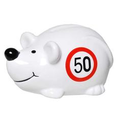 "Hranilnik, miška s prometnim znakom ""50"", polimasa, 10.5x5cm"