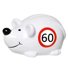"Hranilnik, miška s prometnim znakom ""60"", polimasa, 10.5x5cm"